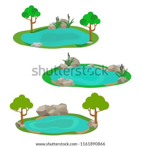 Lake, icon lake, water, stones, reeds, grass. Flat design, vector.