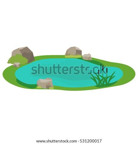 lake  icon lake  water  stones  ...