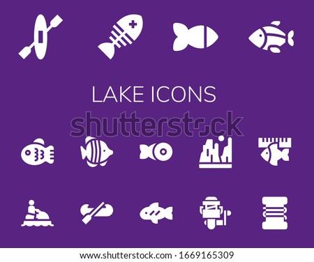 lake icon set 14 filled lake