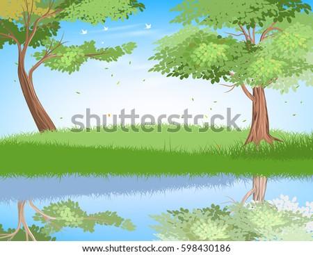 lake in nature scene vector