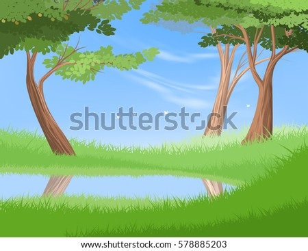 Lake in nature vector nature and forest landscape background