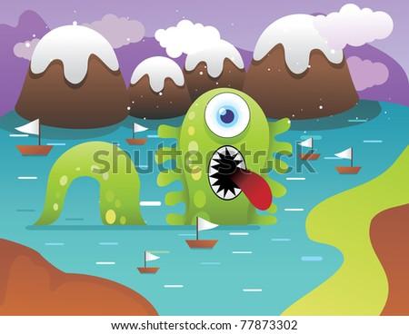 lake monster vector