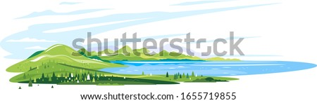 Lake near the green mountains with spruce forest around on white background, nature tourism landscape illustration isolated, sample creative panorama of mountains