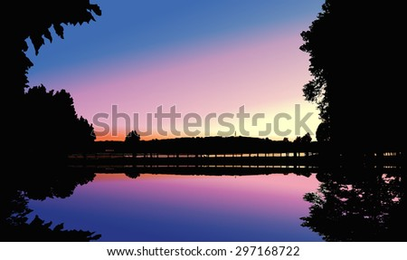 lake sunset mirror reflection