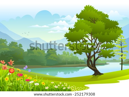 Lake surrounded by lush greenery