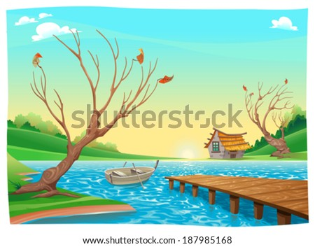 lake with boat cartoon and