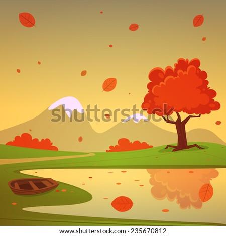 lake with boat  cartoon autumn