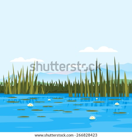 lake with water lily and