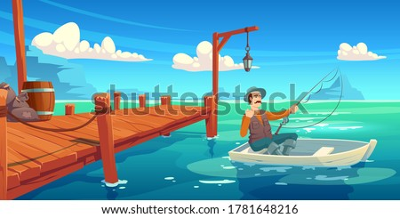 Lake with wooden pier and fisherman in boat. Vector cartoon illustration of summer landscape with river, sea bay or pond, wharf and man in hat with fishing rod in boat Stockfoto ©