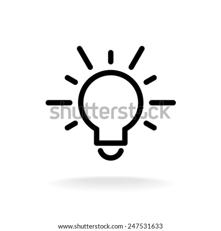 Lamp bulb vector flat icon with light rays. Black outline contour style symbol.