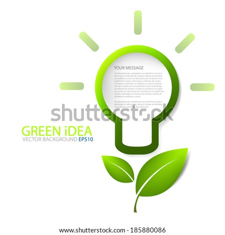 Lamp for light icon for green idea save the world background vector board for text and message modern website design