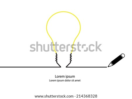 Stock Photo Lamp idea contour vector.