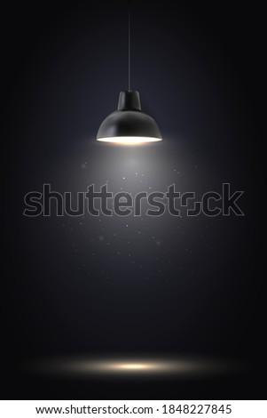 lamp in dark room spotlight on