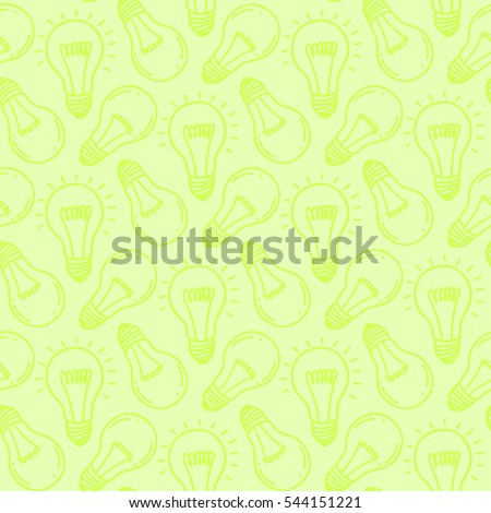 Lamp light bulb hand drawn seamless pattern design. Light bulb icon. Concept of big ideas inspiration, innovation.  Isolated. Vector illustration. Idea symbol. Vector. sketch. Hand-drawn doodle sign.