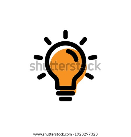 Lamp light bulb lineal color icon. Idea symbol. simple illustration mobile concept app line icon and web design. Editable stroke. Design template vector Foto stock ©