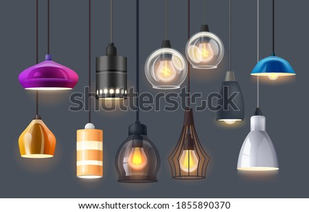 Lamp lights and chandelier bulbs for interior design, vector isolated realistic elements. Modern or vintage retro, lamp lights hanging from ceiling, home decor led lamps of glass, plastic and metal