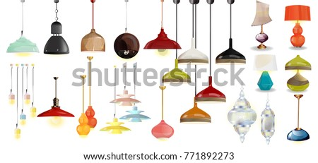 lamp on white background.Furniture icons. Chandeliers, lamps, bulbs, luster, electrolier, illuminator.Elements of interior. Modern interior. Vector Isolated Lamp. Chandeliers big set