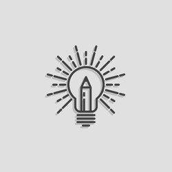 Lamp & Pencil Outline Logo Creative idea symbol vector template. Bright ideas for your business. Design studio logotype concept icon. Bulb logo. Design logo. Education line logo. Creative logo