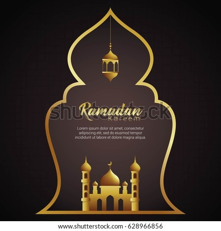 Lamp with mosque ornament for greeting background Ramadan Kareem. Vector Illustration - Shutterstock ID 628966856