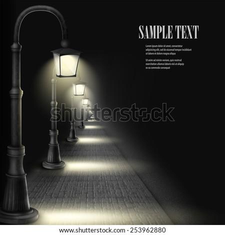 lamps along paving block street