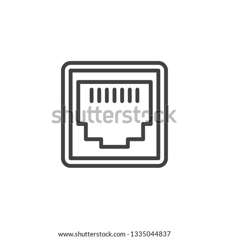 LAN network port line icon. linear style sign for mobile concept and web design. Ethernet port socket outline vector icon. Local area connector symbol, logo illustration. Pixel perfect vector graphics Stock fotó ©