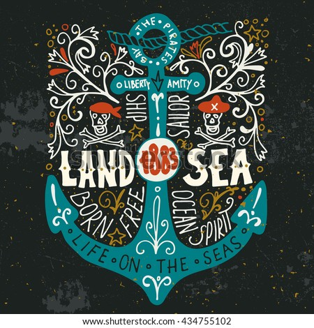 land and sea hand drawn