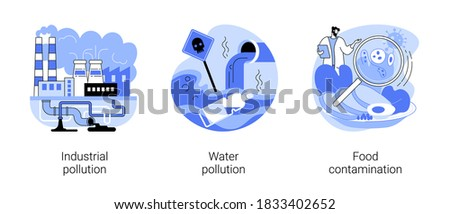 Land contamination abstract concept vector illustration set. Industrial pollution, water poisoning, food contamination, hazardous waste dumping, chemical pollution, food safety abstract metaphor.