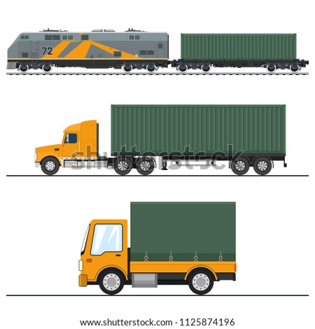 Land Freight Trucking and Railway Services , Truck and Lorry, Locomotive with Cargo Container , Logistics, Freight of Goods, Vector Illustration
