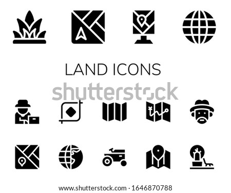 land icon set 14 filled land