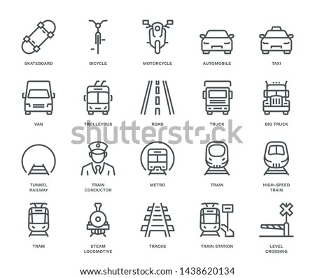 Land Transport Icons, oncoming/front view,  Monoline concept The icons were created on a 48x48 pixel aligned, perfect grid providing a clean and crisp appearance. Adjustable stroke weight.