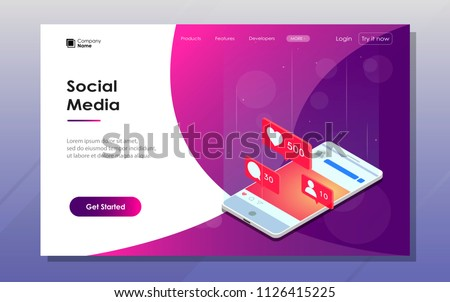 Landeng page. Social Media theme. Communication in social networks. Image of mobile phone with likes and subscribers. 3d isometric design. Perfect for banner, website and promotional materials.