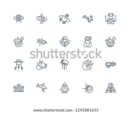 Lander, Black hole, Space shuttle, Telescope, Stargate, Generator, Astronaut, Meteor, Sputnik, Day and night, junk outline vector icons from 20 set
