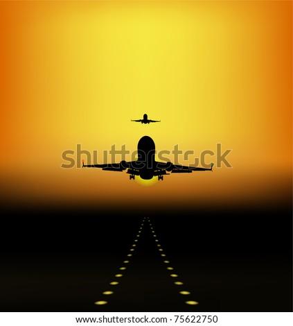 landing of aircraft at sunset