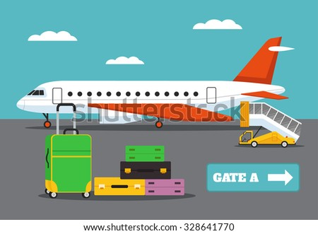 Landing on flight. Vector flat illustration
