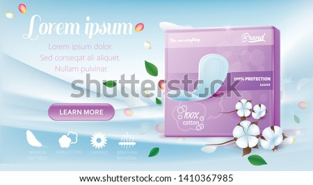 Landing Page Advertise Ultra Soft Pads in Violet Pack. Cotton Hygienic Feminine Product Protect from Menstrual Leakage Gives Fresh and Comfort. Vector Realistic 3d Illustration and Promo Editable Text
