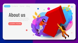 Landing page. Business team with growing arrow. Concept business success vector illustration. 3d cartoon character style. Vector illustration
