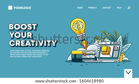 Landing page design about creativity. You can use this design for educational websites, creative agency websites, art websites and bookstore websites