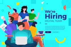 Landing page design concept we are hiring digital team. Illustrations group people worker teamwork present professional skill. Vector illustrate.