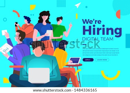 Landing page design concept we are hiring digital team. Illustrations group people worker teamwork present professional skill. Vector illustrate.