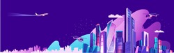 Landing page for a website about city life, social communication, concept, cityscape of a business center Vector horizontal illustration, banner on a blue background