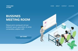 Landing page illustration Business meeting room team collaboration flat 3d web isometric infographic concept vector. A man stands pointing to a blackboard that has a picture of a curve, and 3 others a