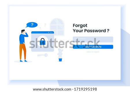 Landing page illustration design people forgot her password. This design can be used for websites, landing pages, UI, mobile applications, posters, banners