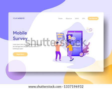 Landing Page Mobile Survey vector illustration concept, a man is conducting a survey using a smartphone and a man gives feedback, can use for, landing pages, templates, UI, web, mobile app, banner,
