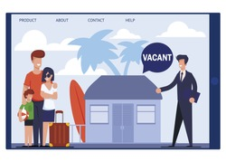 Landing Page Offering Cheap Tent Flat on Vacation. Traveling Family Speaking with Real Estate Agent about Vacant Budget Room, House or Apartment on Tropical Island. Vector Tablet Screen Illustration