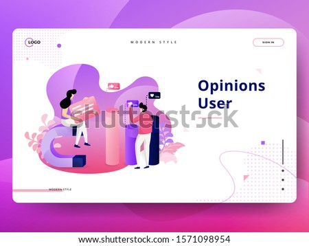 Landing Page Opinions User vector illustration modern concept, can use for Headers of web pages, templates, UI, web, mobile app, posters, banners, flyers, posters.