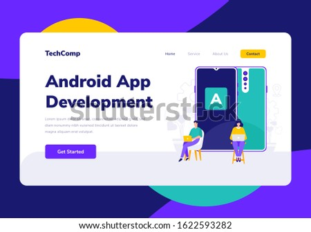 Landing Page People Development Android App Programming Vector Illustration
