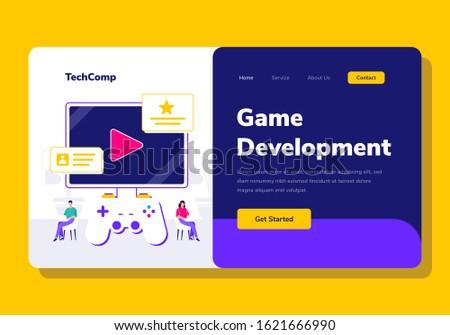Landing Page People Development Game App Programming Vector Illustration