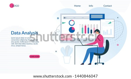 Landing Page Presents Effective Data Analysis App. Analytics Results Visualization on Interactive Whiteboard and Modern NFC Technology. Man Working with Graphs and Charts on PC. Vector Illustration