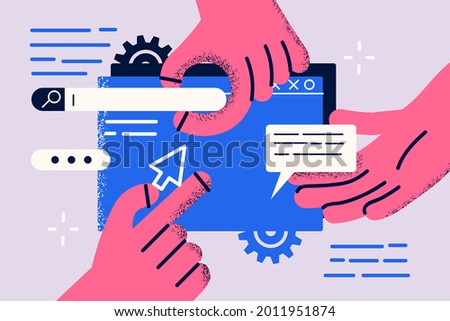 Landing page, programming, research concept. Hands of workers working on website or application, ui ux design and programming as team of designers vector illustration