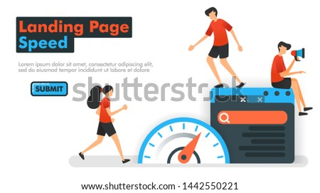 Landing Page speed vector illustration. People measure speed on the web and search engines to optimize SEO in processing keywords and search results. Can be used for Marketing Website Mobile App Ads